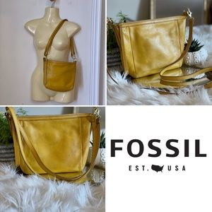 Fossil yellow leather crossbody or shoulder bag